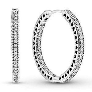 ✨Pandora Sparkle & Hearts Hoop Earrings